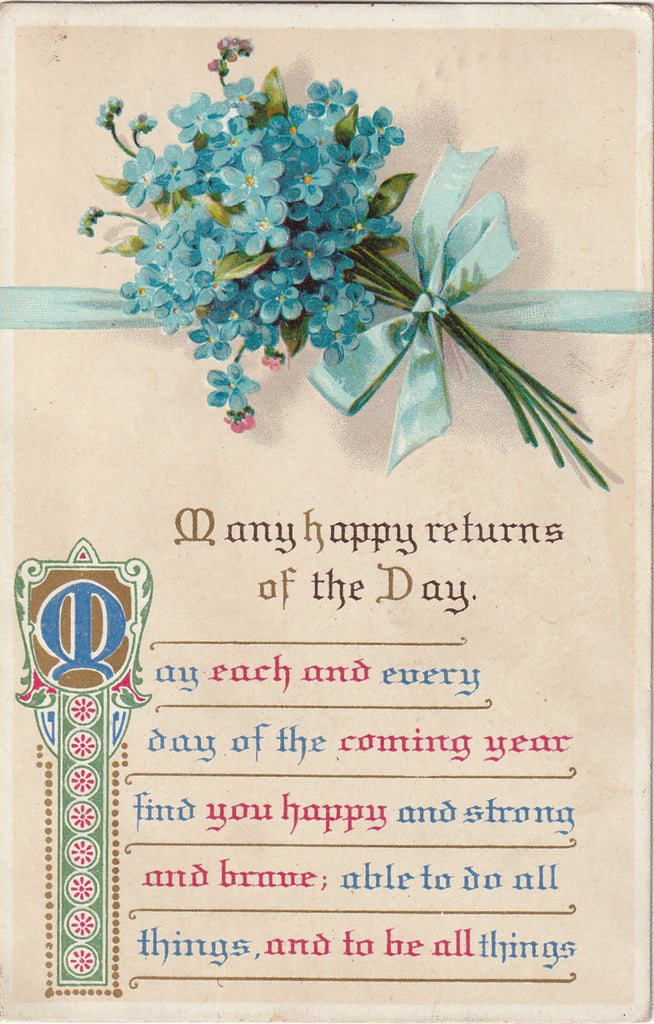 Many Happy Returns of The Day - Glad Birthday - SET of 2 - Postcards, c. 1910s