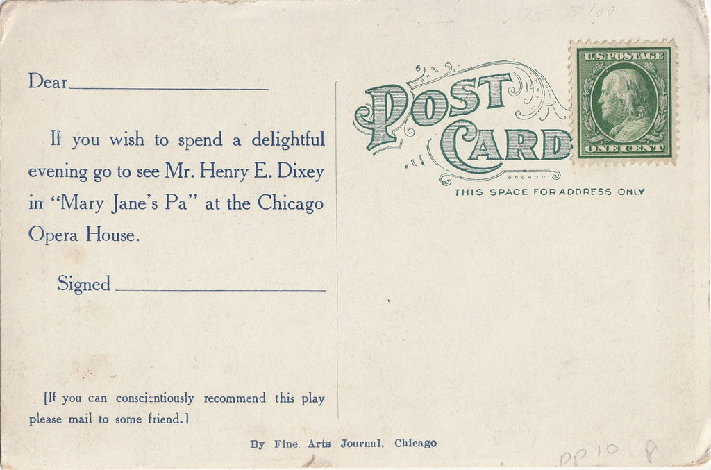 Mary Jane's Pa Chicago Opera House Postcard Back
