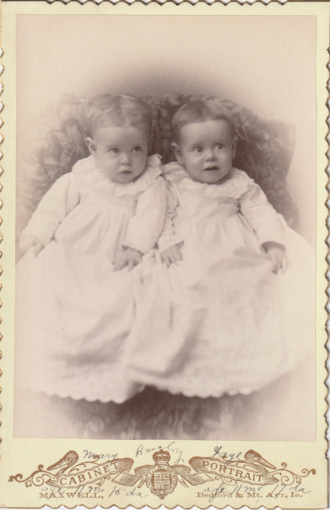 Mary and Faye Barclay Twins Barclay Iowa Cabinet Photo