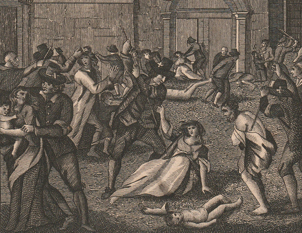 Massacring of Protestants in Paris Foxe's Book of Martyrs Antique Print Close Up 3