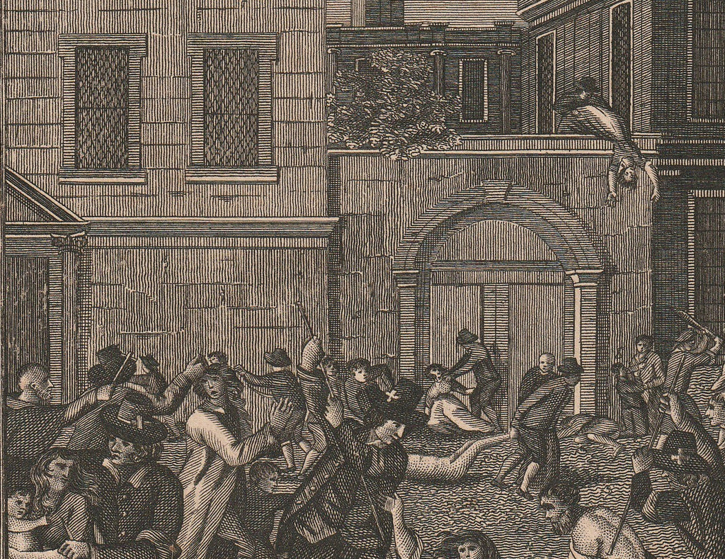 Massacring of Protestants in Paris Foxe's Book of Martyrs Antique Print Close Up 4