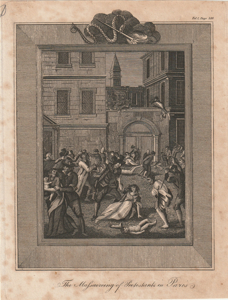 Massacring of Protestants in Paris Foxe's Book of Martyrs Antique Print