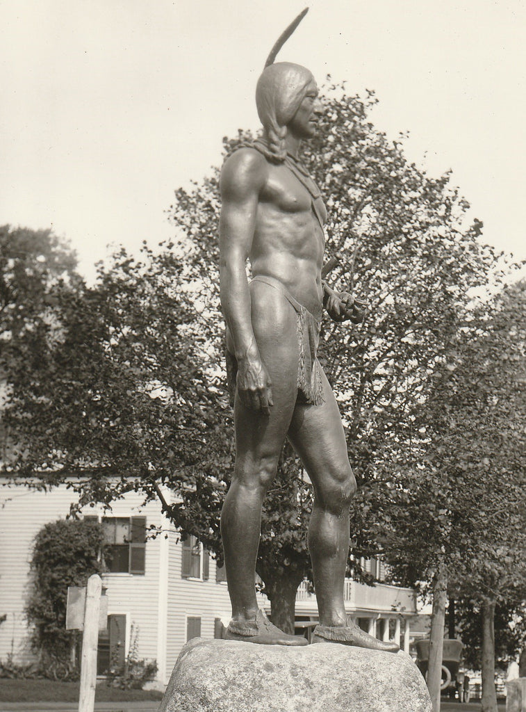 Massasoit Ousamequin Statue - Plymouth, Mass - Photo, c. 1920s Close Up