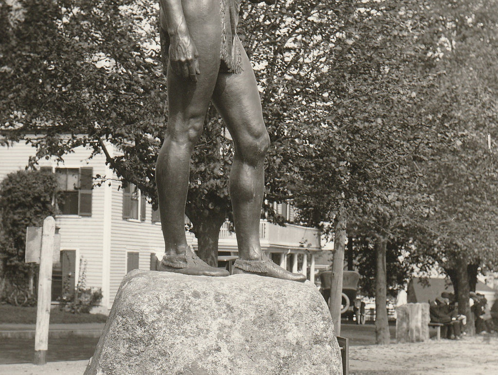 Massasoit Ousamequin Statue - Plymouth, Mass - Photo, c. 1920s Close Up 2