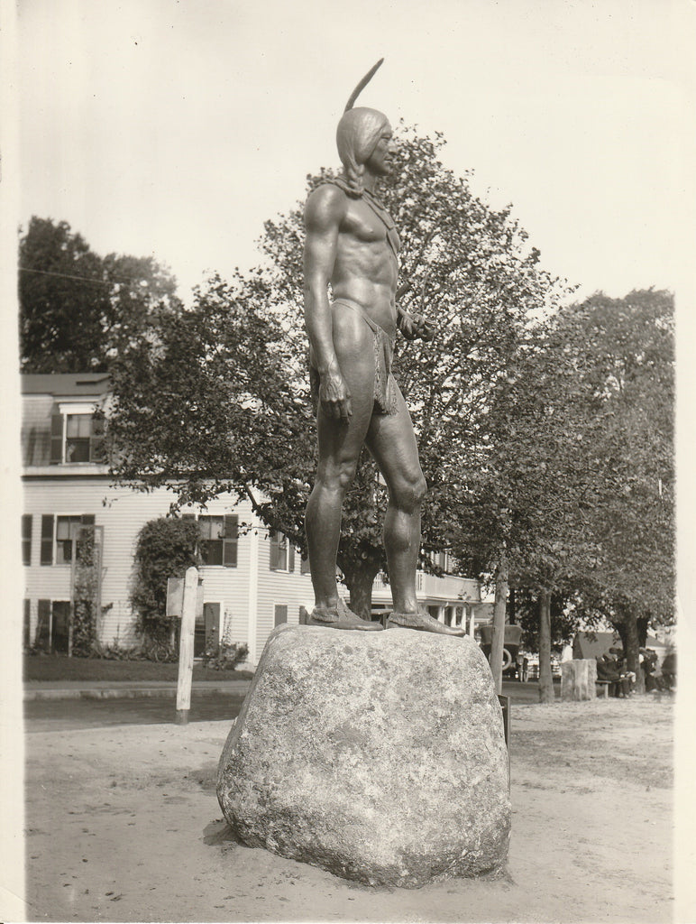 Massasoit Ousamequin Statue - Plymouth, Mass - Photo, c. 1920s