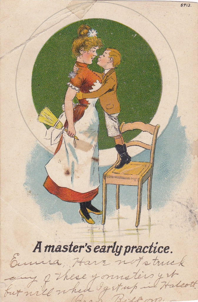 A Master's Early Practice- 1900s Antique Postcard- Edwardian Nursemaid- Nursery Maid- First Kiss- Art Comic- Moore Gibson- Used