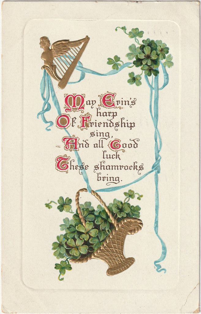 May Erin's Harp of Friendship Sing All Good Luck These Shamrocks Bring Postcard
