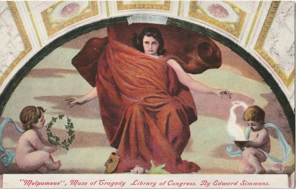 Melopomene Muse of Tragedy Edward Simmons Postcard