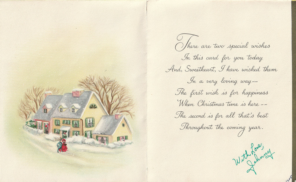 Merry Christmas Sweetheart - Hallmark Card, c. 1950s Inside