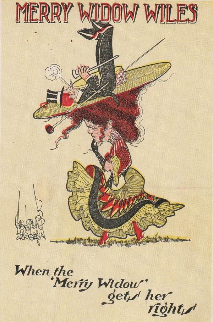 Merry Widow Wiles Walter Wellman Antique Postcard Close Up