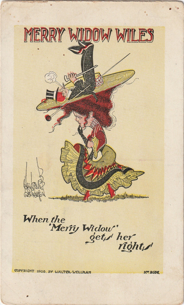 Merry Widow Wiles Walter Wellman Antique Postcard