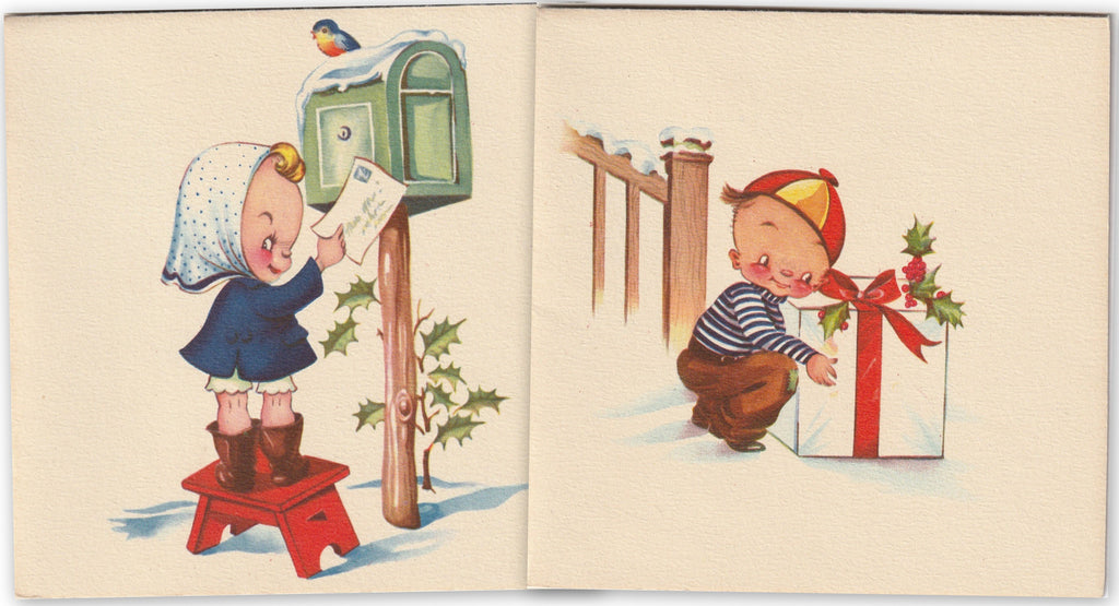 Midge Mails a Christmas Card - SET of 2 - Cards, c. 1950s