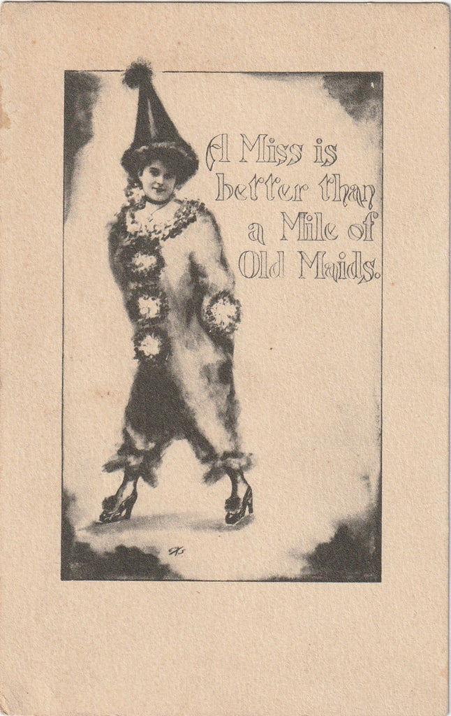 A Miss Is Better Than Mile of Old Maids Postcard