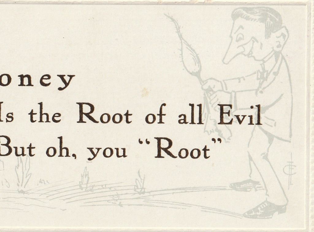 Money Is The Root Of All Evil Frederick L Cavally Postcard Close Up