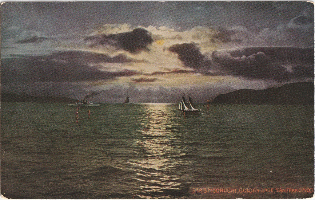 Moonlight Golden Gate San Francisco California Postcard