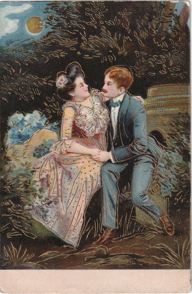 Moonlight Romance Antique Postcard
