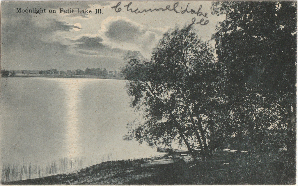 Moonlight on Petit Lake Channel Lake Illinois Postcard