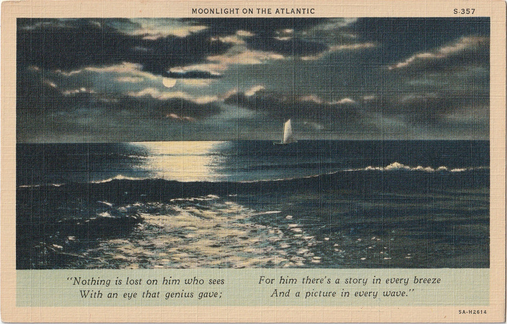 Moonlight on the Atlantic Poem Postcard