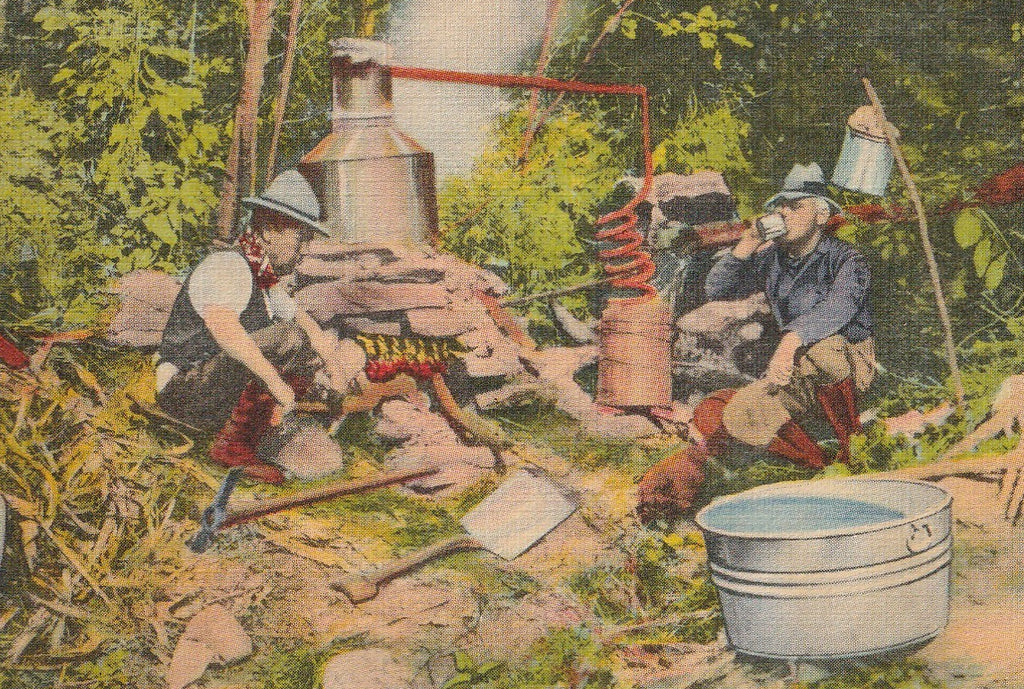 Moonshine Still Vintage Postcard Close Up