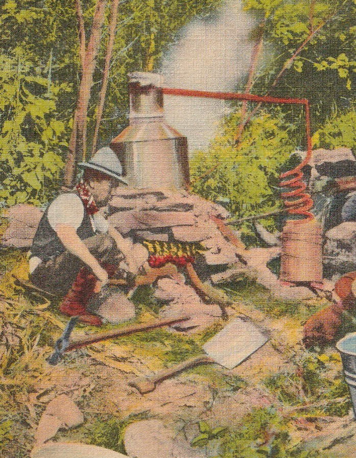 Moonshine Still Vintage Postcard Close Up 2