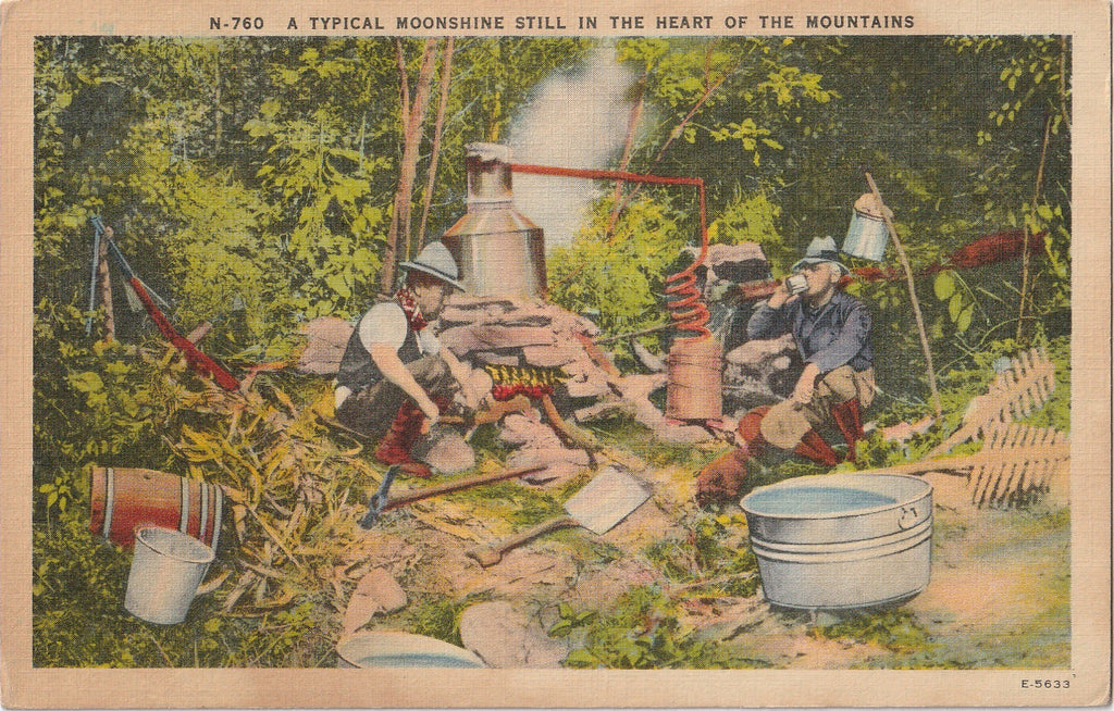 Moonshine Still Vintage Postcard