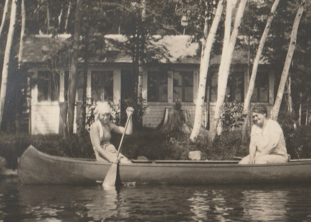 Mother and Daughter in Canoe Wisconsin 1920s Photo Close Up
