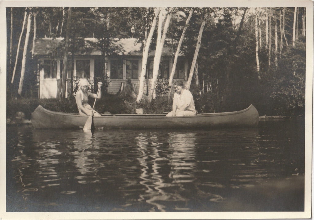 Mother and Daughter in Canoe Wisconsin 1920s Photo