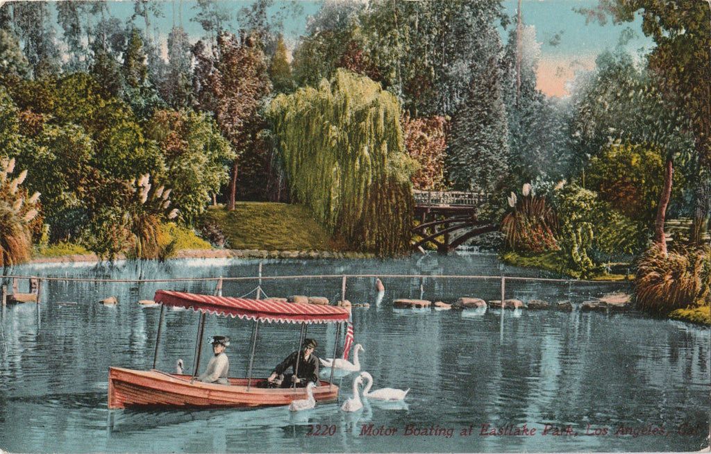 Motor Boating at Eastlake Los Angeles Antique Postcard