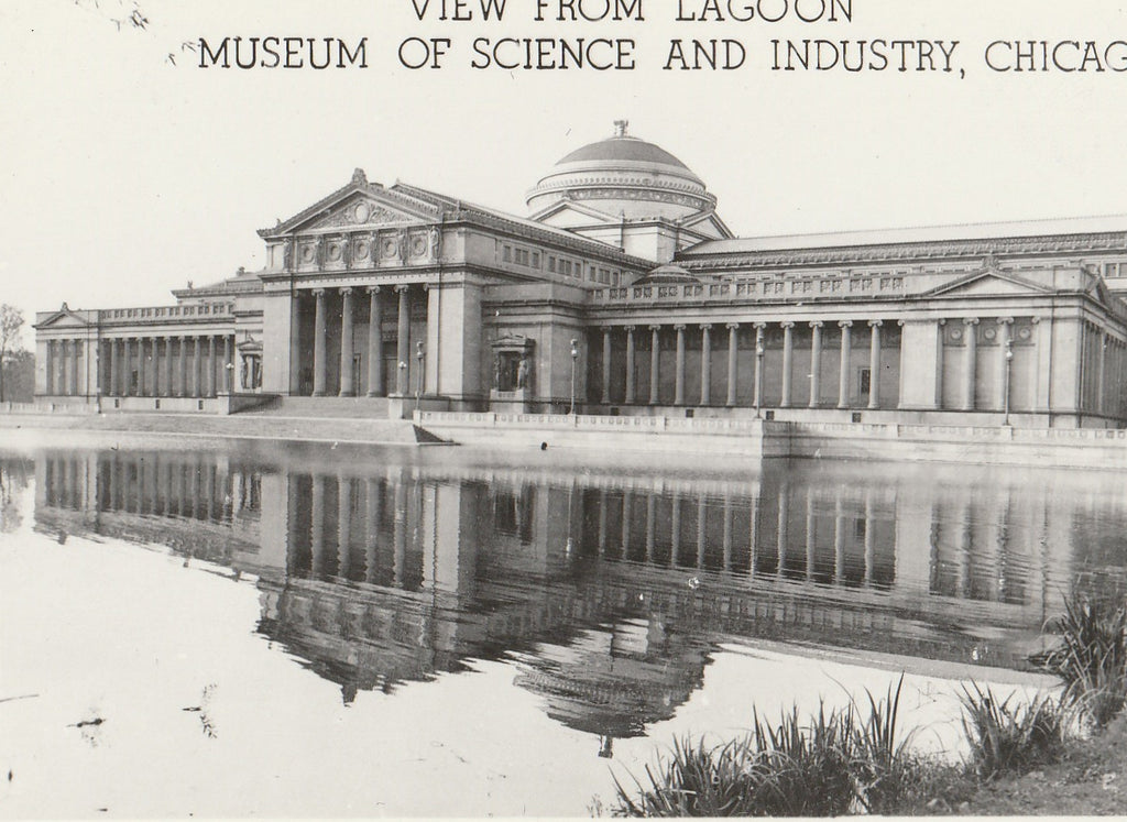 Museum of Science and Industry Lagoon Chicago RPPC Close Up