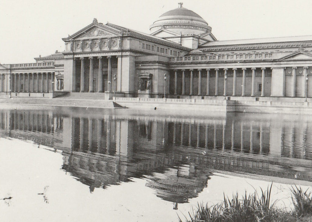Museum of Science and Industry Lagoon Chicago RPPC Close Up 2