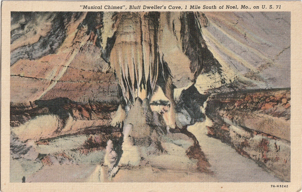 Musical Chimes Bluff Dweller's Cave Noel Missouri Postcard