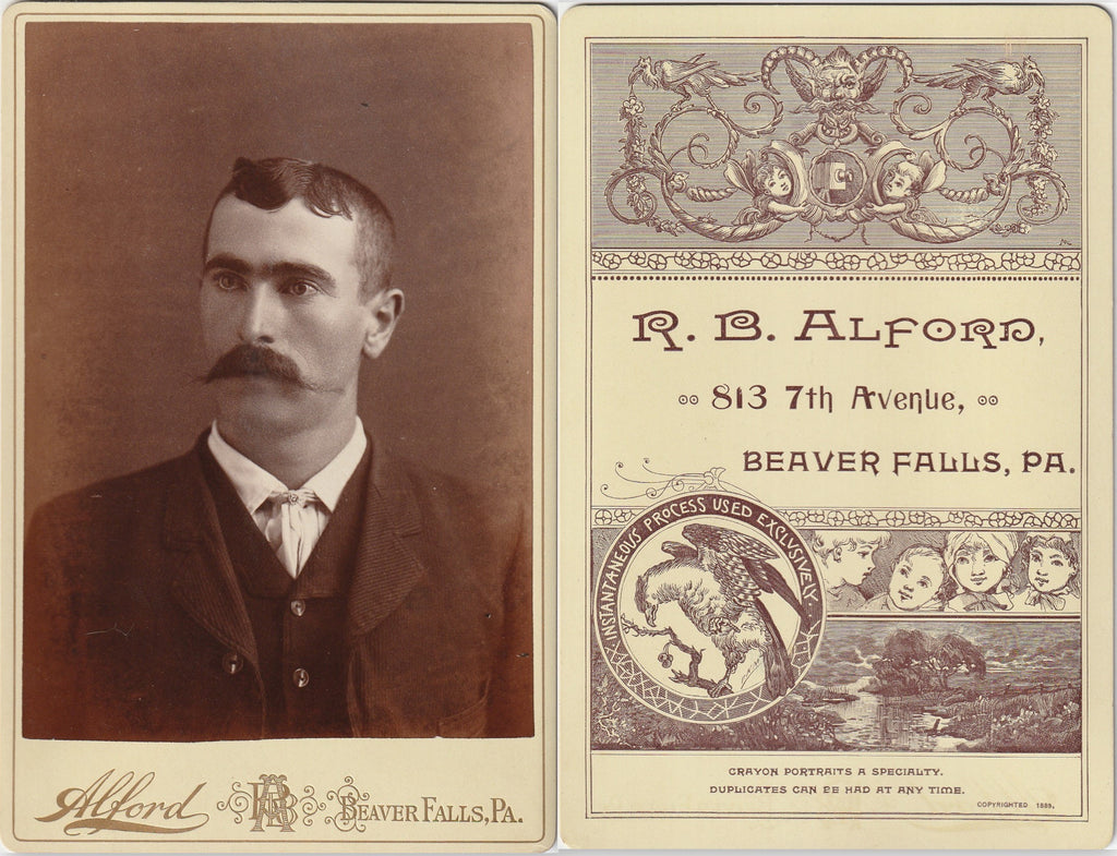 Mustachioed Victorian Man -R. B. Alford - Beaver Falls, PA - Cabinet Photo, c. 1889