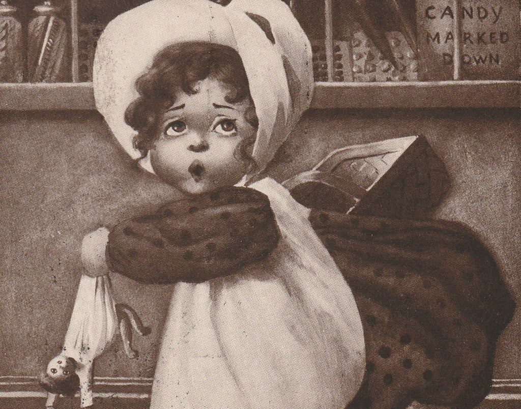 Mustn't Miss That Bargain Sale Antique Postcard Close Up 2