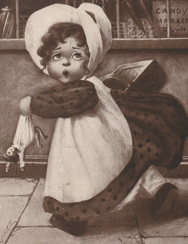 Mustn't Miss That Bargain Sale Antique Postcard Close Up 3