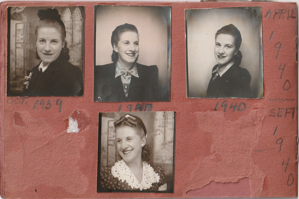 My Snapshots 1939 - 1944 Photo Booth Portraits Album Page 4