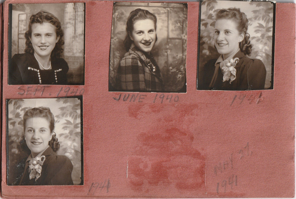 My Snapshots 1939 - 1944 Photo Booth Portraits Album Page 6
