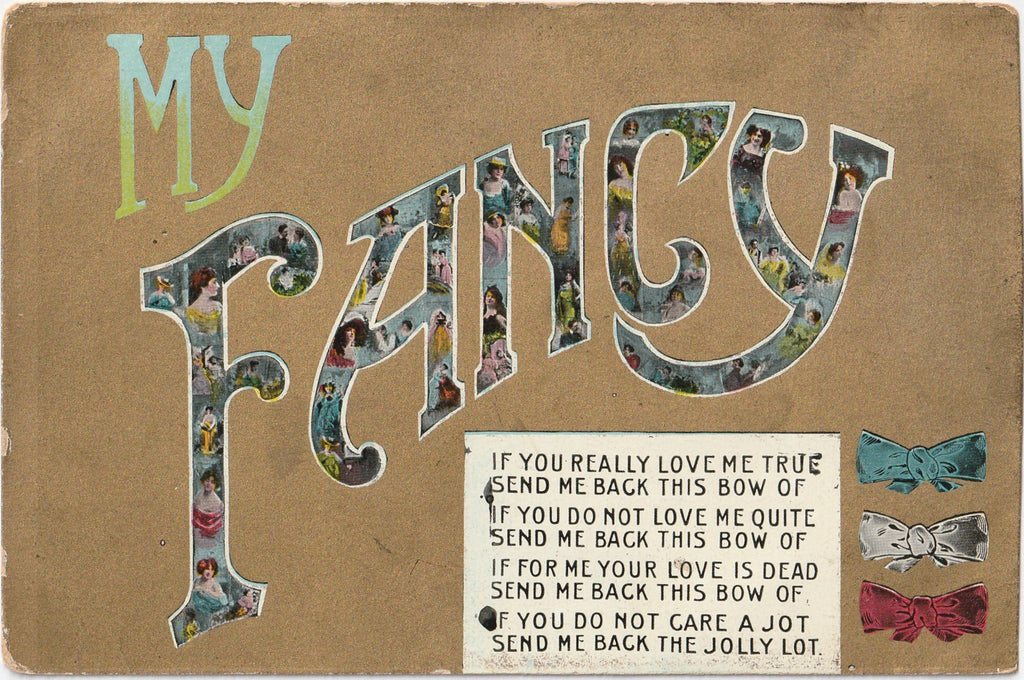 My Fancy Bow Antique Postcard
