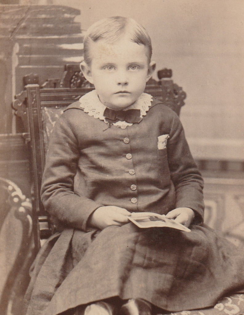 Victorian Boy Mt Clemens Michigan Cabinet Photo Close Up 2
