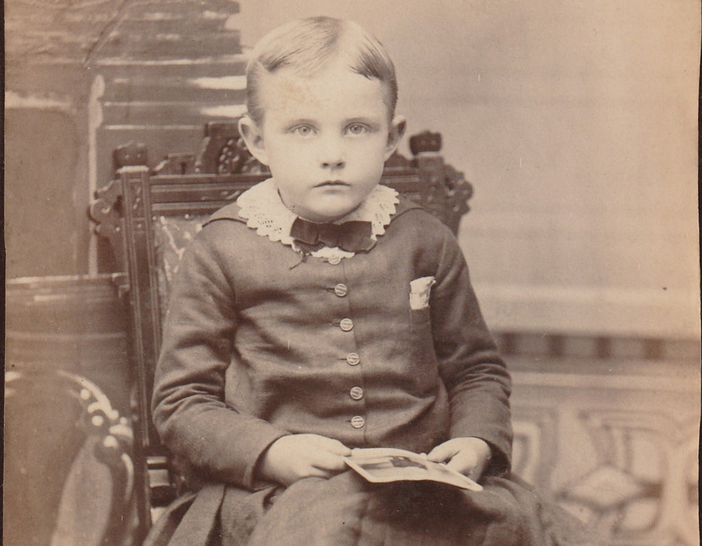 Victorian Boy Mt Clemens Michigan Cabinet Photo Close Up 3