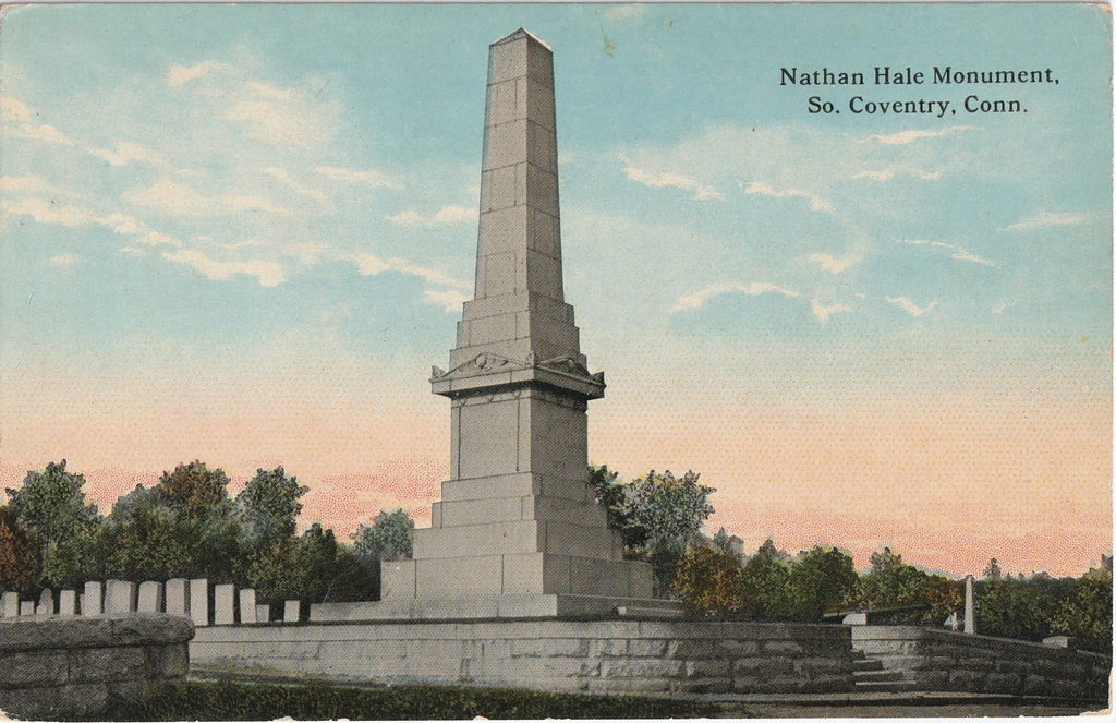 Nathan Hale Monument Coventry Connecticut Antique Postcard