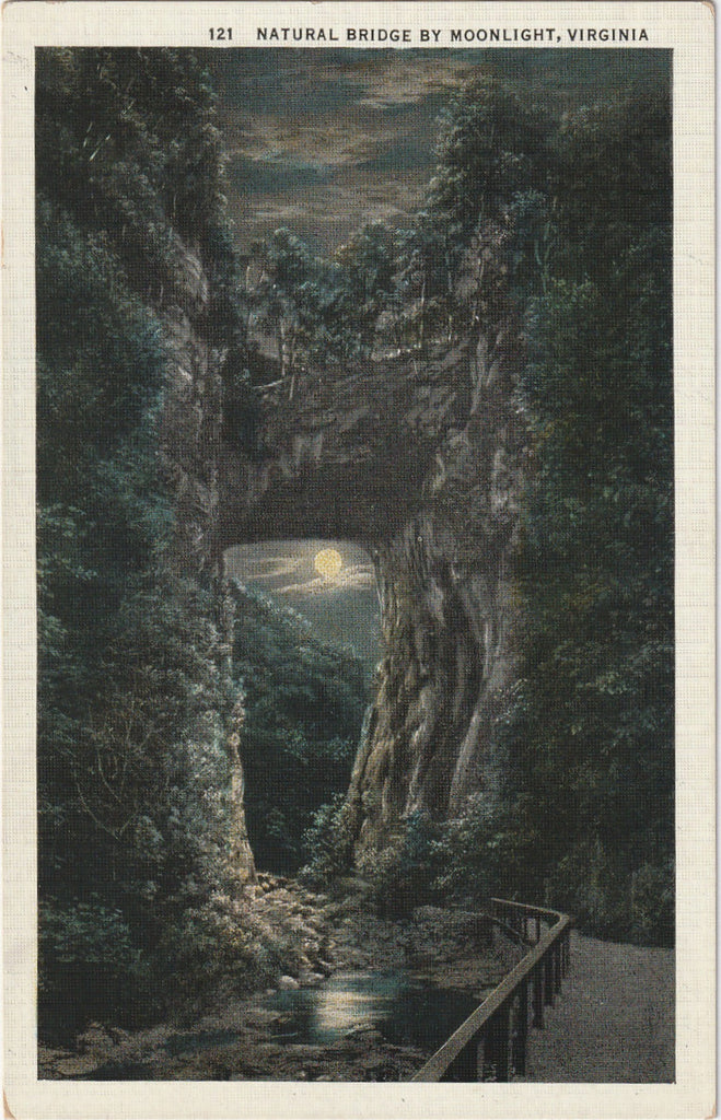 Natural Bridge By Moonlight Virginia Vintage Postcard
