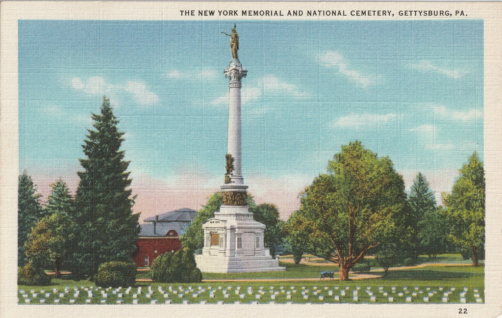 New York Memorial National Cemetery Gettysburg PA Postcard