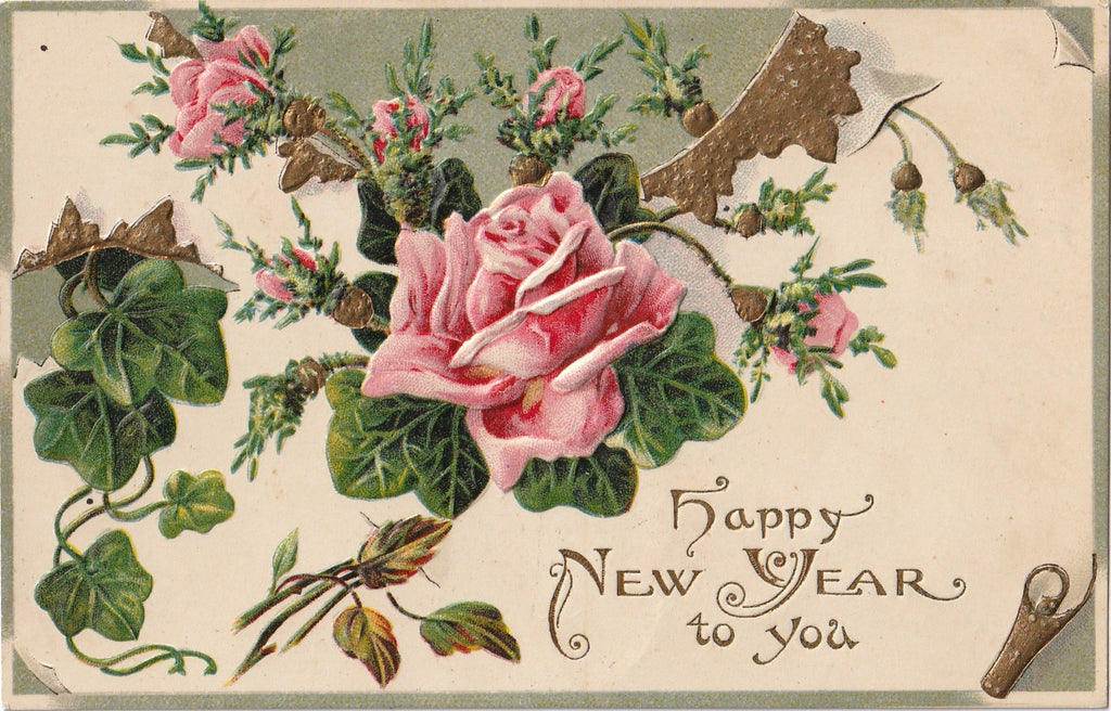 New Year Roses Antique Postcard