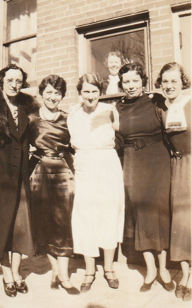 Office Ladies Photo Bomber Vintage Snapshot Close Up