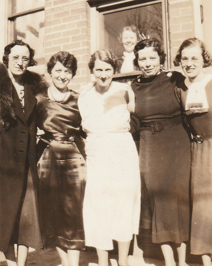 Office Ladies Photo Bomber Vintage Snapshot Close Up 2