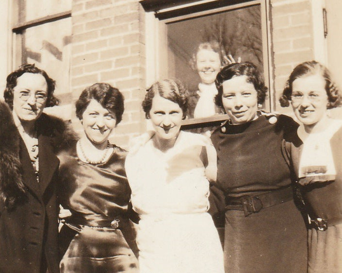 Office Ladies Photo Bomber Vintage Snapshot Close Up 3