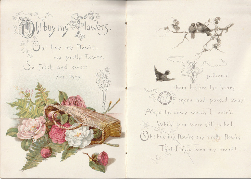 Oh Buy My Flowers Edward Oxenford Raphael Tuck Antique Booklet Card Inside 2