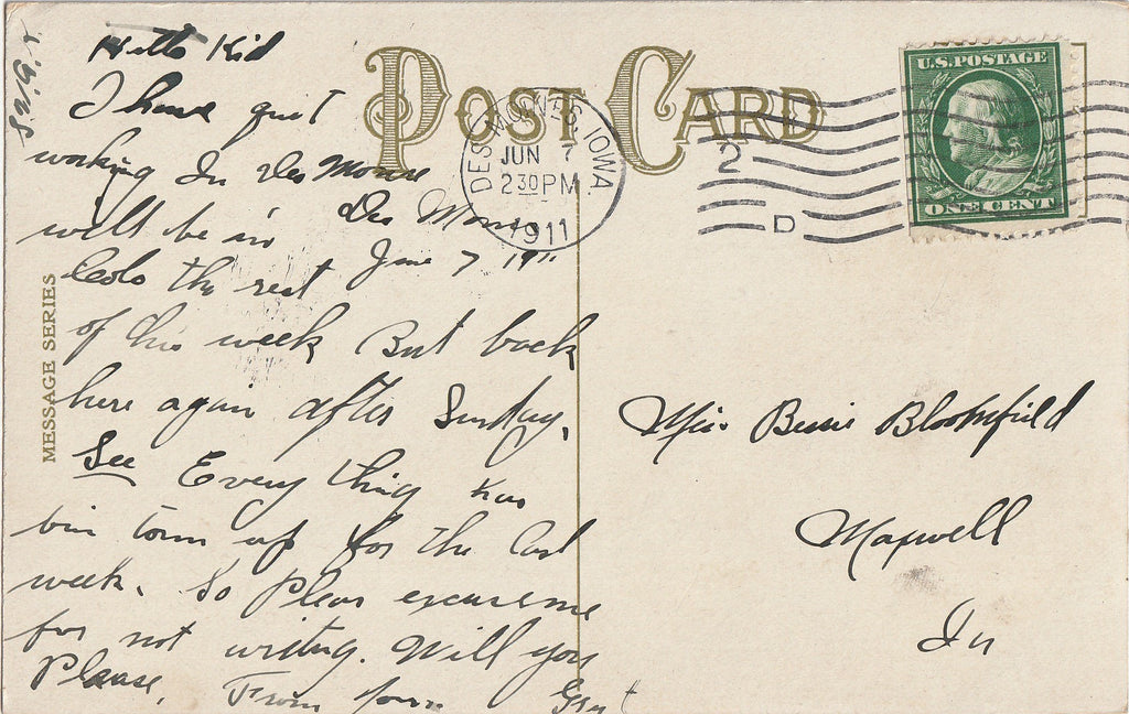 Oh Gee I'd Die of Joy Frederick L Cavally Postcard Back