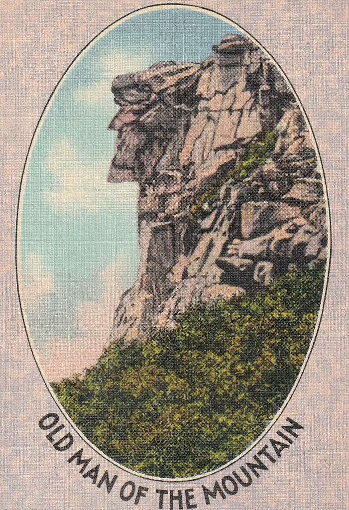 Old Man of the Mountain White Mountain NH Postcard Close Up
