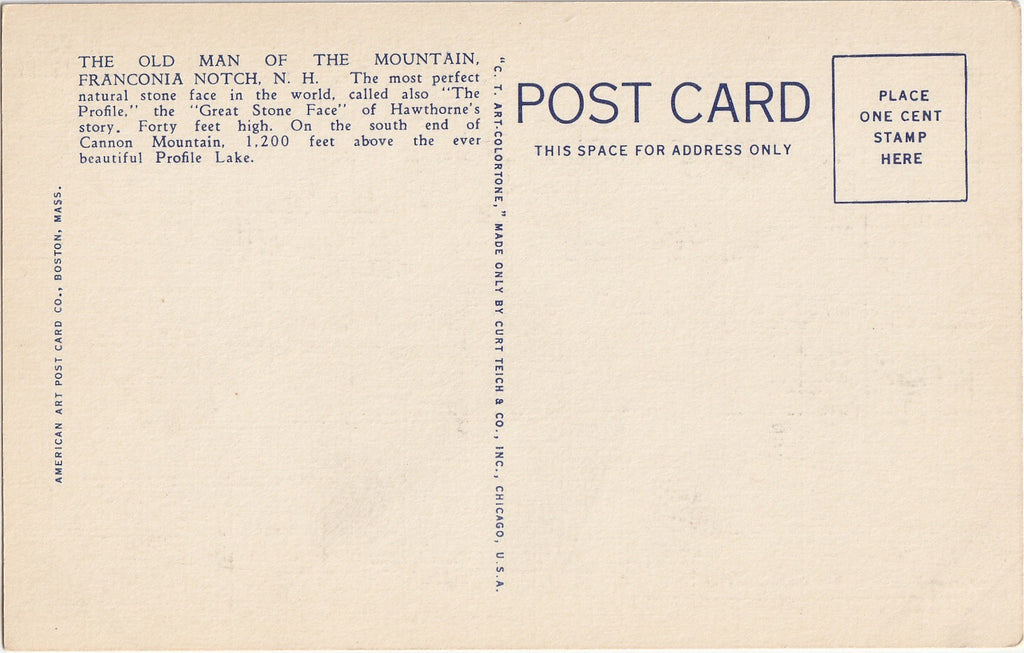 Old Man of the Mountain White Mountain NH Postcard Back